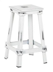 "New Castle 26"" Antique White Metal Barstool, Kd"