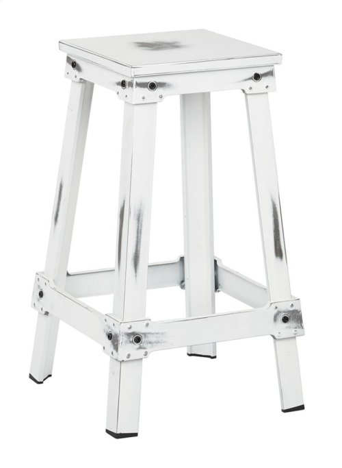 "New Castle 26"" Antique White Metal Barstool, Kd"