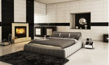 Modrest B1314 Modern Grey & White Bonded Leather Bed
