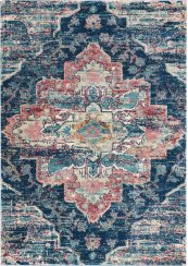 FUSION FSS13 NAVY/PINK RECTANGLE RUG 5'3'' x 7'3''