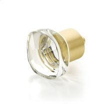 "City Lights, Soft Square Glass Knob, Satin Brass, 1-1/4"" dia"