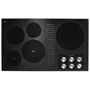 "KitchenAid36"" Electric Downdraft Cooktop with 5 Elements - Black"