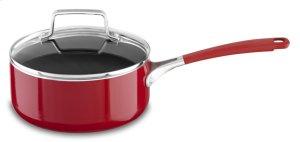 Aluminum Nonstick 2.0-Quart Saucepan with Lid - Empire Red