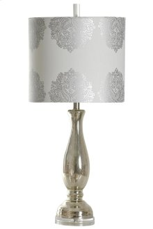 Mercury glass table lamp in north bay finish with decorative scroll fabric on a drum shade