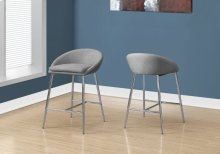 BARSTOOL - 2PCS / GREY FABRIC / CHROME BASE / BAR HEIGHT