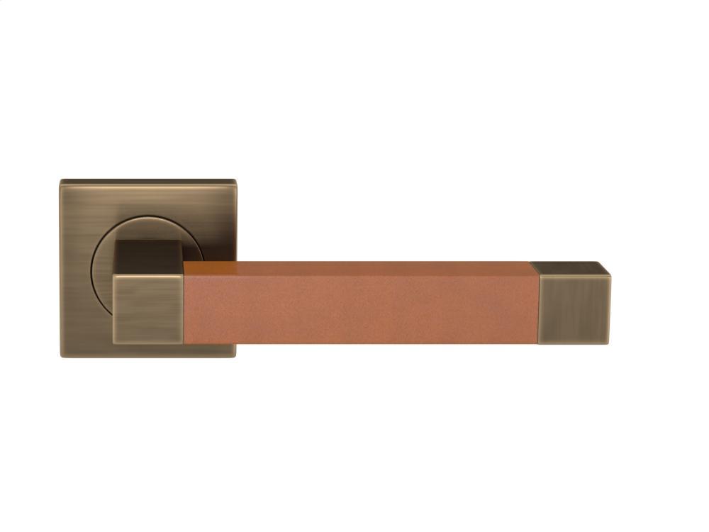 Square Stitch In Recess Leather In Tan And Fine Antique Brass