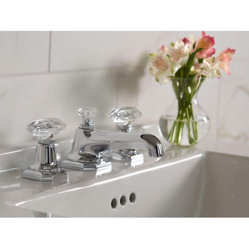 Sink Faucet, Clear Crystal Handles - Nickel Silver