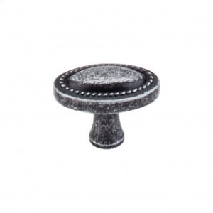Oval Rope Knob 1 1/4 Inch - Black Iron