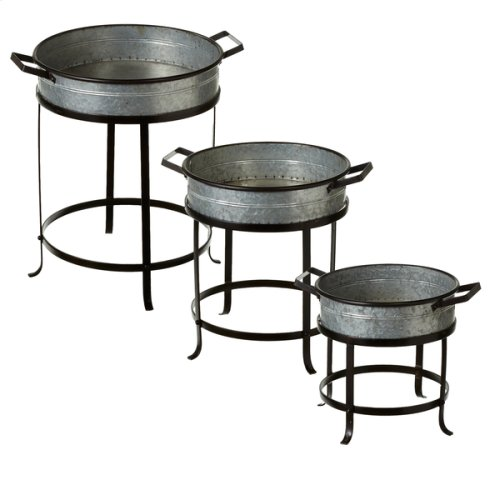 Round Shallow Tray Planter on Stand (3 pc. set)