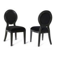 Cerused Oak Black Chair-Set of 2