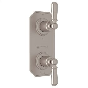 "Satin Nickel Perrin & Rowe Edwardian 1/2"" Thermostatic/Diverter Control Trim with Edwardian Metal Lever"