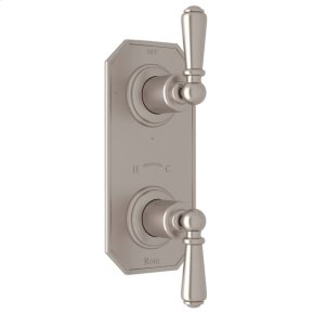 """Satin Nickel Perrin & Rowe Edwardian Trim For 1/2"""" Thermostatic/Diverter Control Rough Valve with Edwardian Metal Lever"""