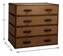Tan Canvas Trunk Style Chest Of Drawers