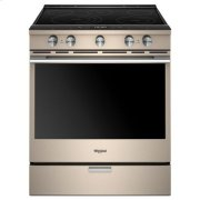 Whirlpool® 6.4 Cu. Ft. Smart Contemporary Handle Slide-in Electric Range with Frozen Bake™ Technology - Sunset Bronze Product Image