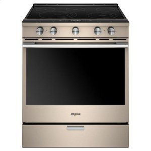 Whirlpool(R) 6.4 Cu. Ft. Smart Contemporary Handle Slide-in Electric Range with Frozen Bake(TM) Technology - Sunset Bronze - SUNSET BRONZE