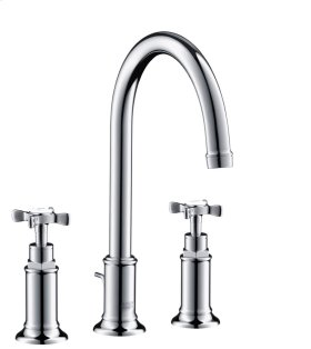 Chrome 3-hole basin mixer 180 with pop-up waste set