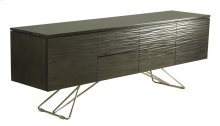 Waterfront Buffet, No Hardware 4 Drawers, 2 Doors, 1 Adjustable Shelf Behind Each Door Zen Chrome Base