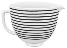 5 Quart Patterned Ceramic Bowl - Horizontal Stripes