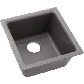 "Elkay Quartz Classic 15-3/4"" x 15-3/4"" x 7-11/16"", Single Bowl Dual Mount Bar Sink, Greystone"