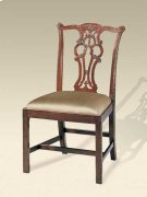 CARVED POLISHED MAHOGANY FINIS H CHIPPENDALE STRAIGHT LEG SID E CHAIR, NEUTRAL UPH Product Image