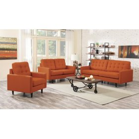 Kesson Mid-century Modern Burnt Orange Two-piece Living Room Set