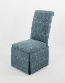 Striped fabric not allowed on this style. Roll back skirted chair