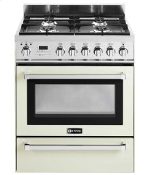 """Antique White 30"""" Self-Cleaning Dual Fuel Range with Warming Drawer"""