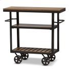 Baxton Studio Kennedy Rustic Industrial Style Antique Black Textured Finished Metal Distressed Wood Mobile Serving Cart Product Image