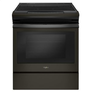4.8 cu. ft. Guided Electric Front Control Range With The Easy-Wipe Ceramic Glass Cooktop - BLACK STAINLESS