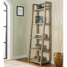 Perspectives - Leaning Bookcase - Sun-drenched Acacia Finish