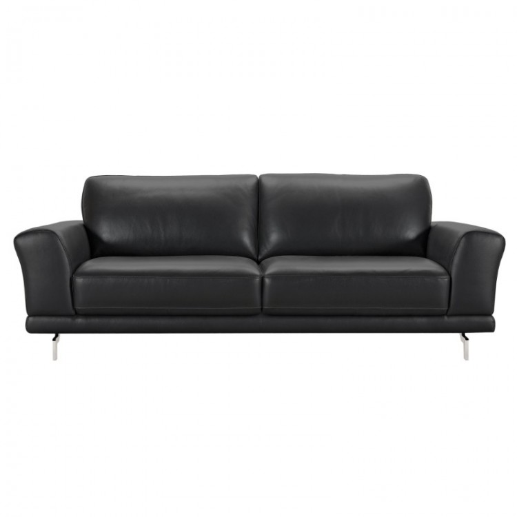 Armen Living Everly Contemporary Sofa in Genuine Black Leather with Brushed Stainless Steel Legs