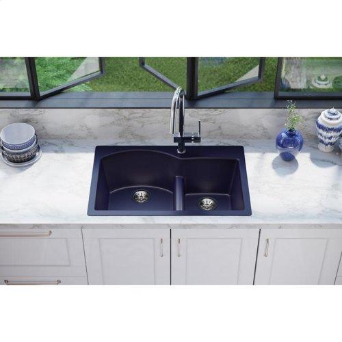"Elkay Quartz Luxe 33"" x 22"" x 10"", Offset 60/40 Double Bowl Drop-in Sink with Aqua Divide, Jubilee"