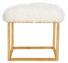 Rowan Contemporary Glam Faux Sheepkin Square Ottoman - White