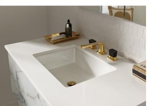 Quartz White Stone Top with White Left Sink Product Image