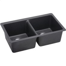 """Elkay Quartz Luxe 33"""" x 18-1/2"""" x 9-1/2"""", Equal Double Bowl Undermount Sink, Charcoal"""