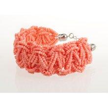 BTQ Coral Woven Bead Bracelet
