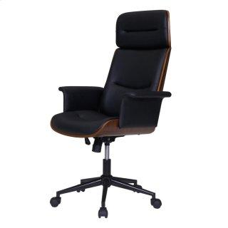 Wade KD PU Office Chair, Black/Walnut *NEW*