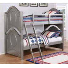 Valentine Metallic Pewter Twin-over-full Bunk Bed