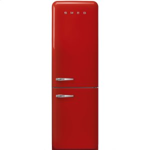 """SmegApprox 24"""" 50'S Style refrigerator with automatic freezer, Red, Right hand hinge"""