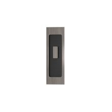 Rectangle Flush Pull - Turn Recess Leather In Black Tea And Vintage Nickel