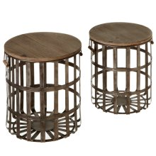 2 pc. set. Woven Galvanized Storage Basket Side Table. (2 pc. set)