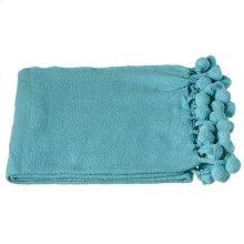 Turquoise Throw with Pom-Poms.