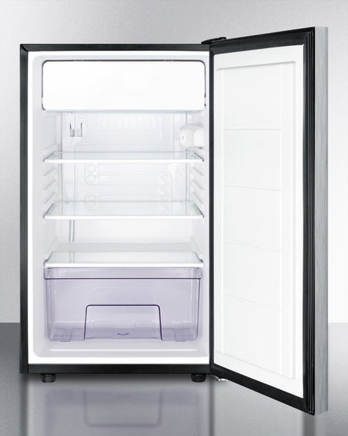 """20"""" Wide Built-in Refrigerator-freezer With A Lock, Stainless Steel Door, Horizontal Handle and Black Cabinet"""