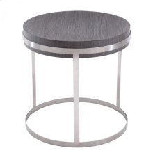 Armen Living Sunset End Table in Brushed Steel finish with Gray top