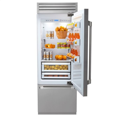 "Discovery 30"" Integrated Bottom Freezer Refrigerator with Bottom Compressor, in Stainless Steel with Epicure Style Handle - Left Hinge"