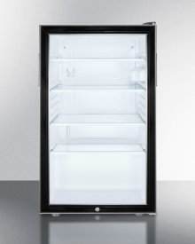 """Commercially Listed ADA Compliant 20"""" Wide Glass Door All-refrigerator for Freestanding Use, Auto Defrost With A Lock and Black Cabinet"""