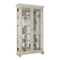 Farmhouse 4 Shelf Curio Cabinet in Distressed Cream Product Image