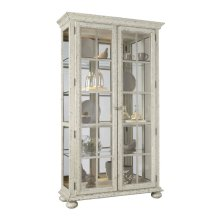 Farmhouse 4 Shelf Curio Cabinet in Distressed Cream