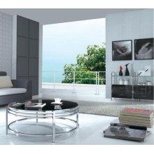 Modrest Dena Contemporary Black Glass Round Coffee Table