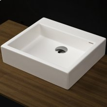 """Vessel Bathroom Sink made of solid surface, with an overflow.Finished back. Available with no faucet holes, one or three in 8"""" spread.W: 22"""" D: 15""""H: 6 1/8"""""""